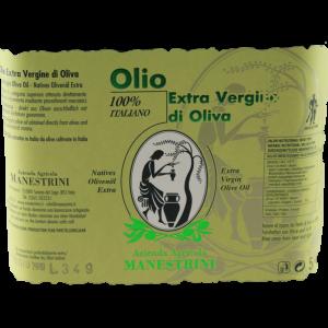 Das Label des Manestrini 5 l Olivenölkanisters