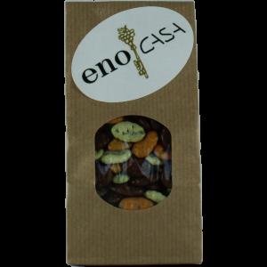 """Unser angebotenes Päckchen """"Kürbiskerne Schokotrio"""" umfasst die Geschmacksrichtungen: Vollmilch, weiße Schokolade und Orangenschokolade."""